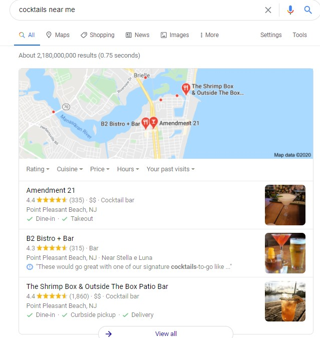 Cocktails near me google pack display